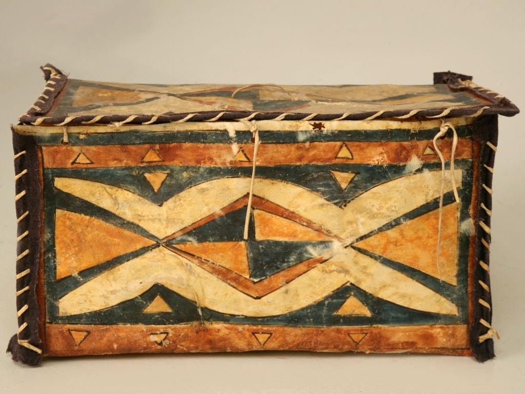 Original vintage native american parfleche box image 2 for Native american furniture designs