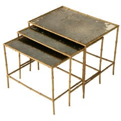 Set of 3 Vintage French Faux Bamboo 'Bagues' Nesting Tables