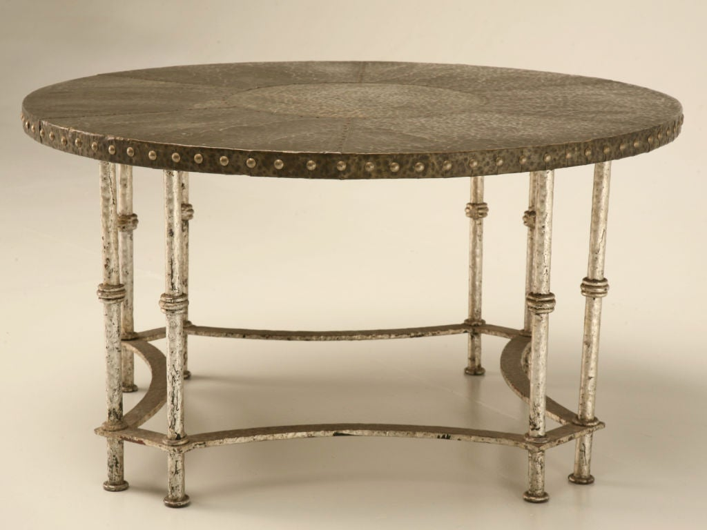 Round Vintage French Forties Hammered Steel Coffee Table 2