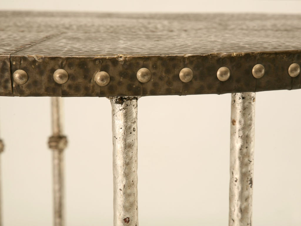 Round Vintage French Forties Hammered Steel Coffee Table 7