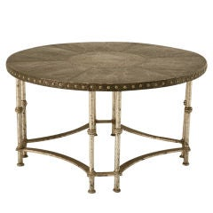 Round Vintage French Forties Hammered Steel Coffee Table