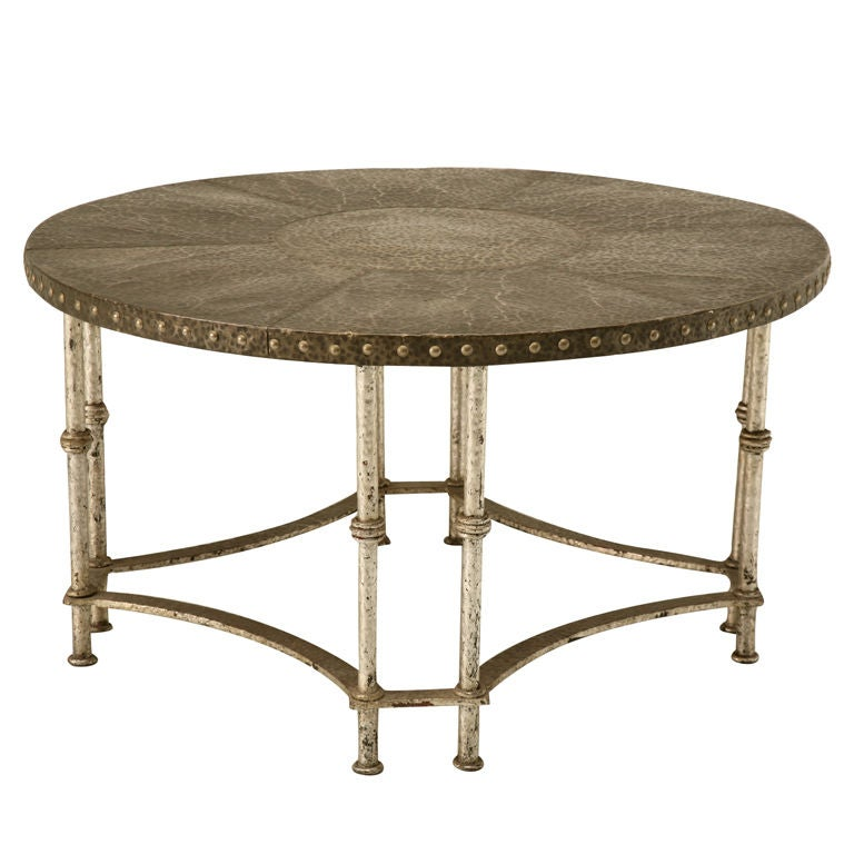 Round Vintage French Forties Hammered Steel Coffee Table 1