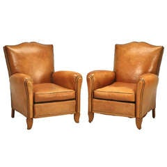 Pair of Conserved Original French 1940s Leather Moustache-Back Club Chairs