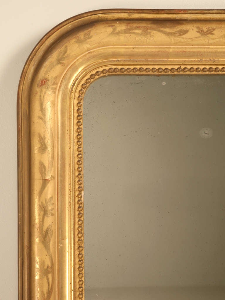 "Jaw-Dropping 55 x 34"" Original Antique French Louis Philippe Gilt Mirror 3"