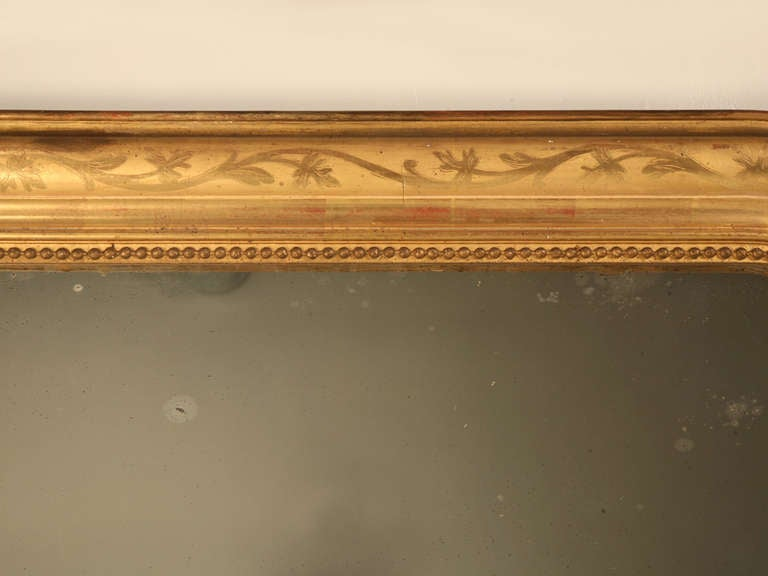 "Jaw-Dropping 55 x 34"" Original Antique French Louis Philippe Gilt Mirror 4"