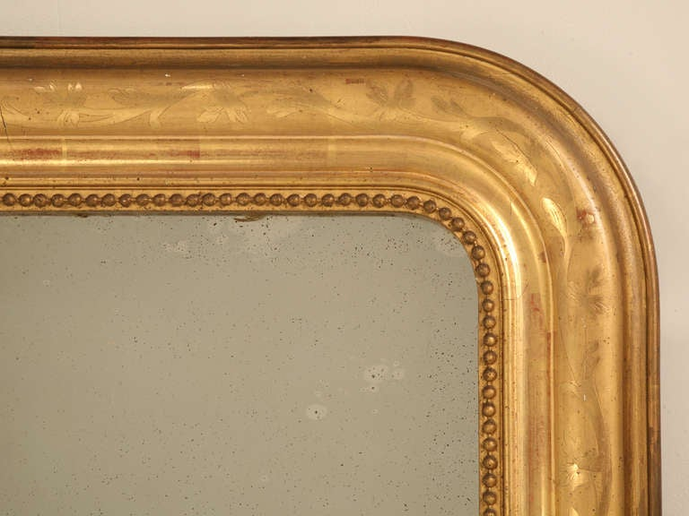 "Jaw-Dropping 55 x 34"" Original Antique French Louis Philippe Gilt Mirror 6"