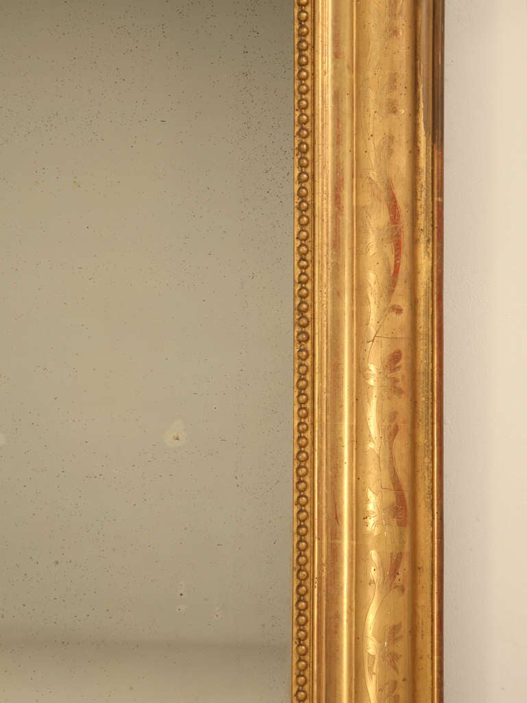 "Jaw-Dropping 55 x 34"" Original Antique French Louis Philippe Gilt Mirror 7"