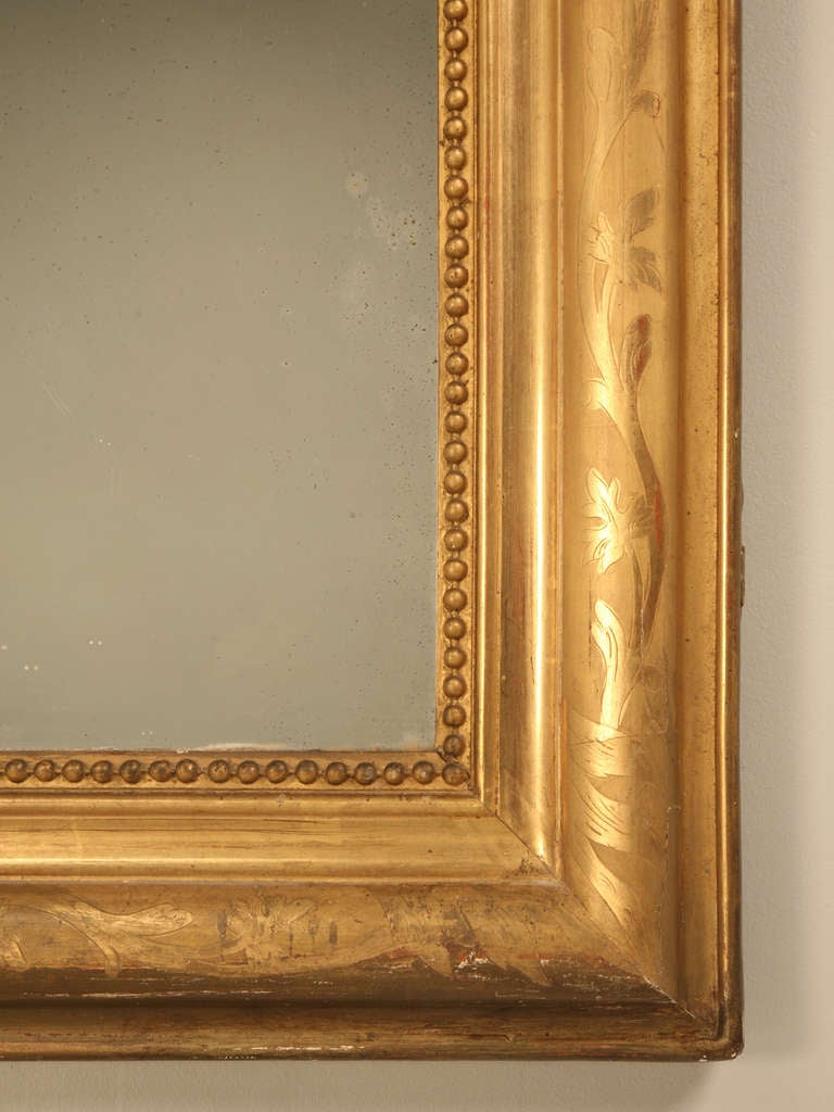 "Jaw-Dropping 55 x 34"" Original Antique French Louis Philippe Gilt Mirror 8"