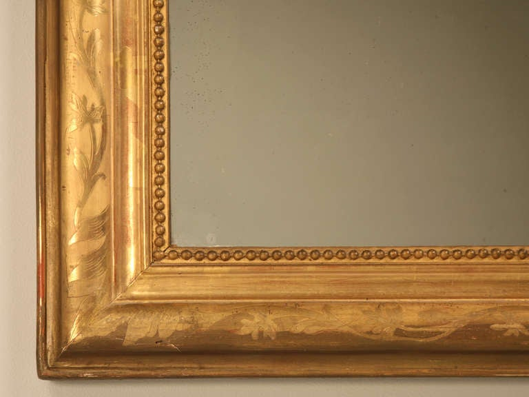 "Jaw-Dropping 55 x 34"" Original Antique French Louis Philippe Gilt Mirror 9"