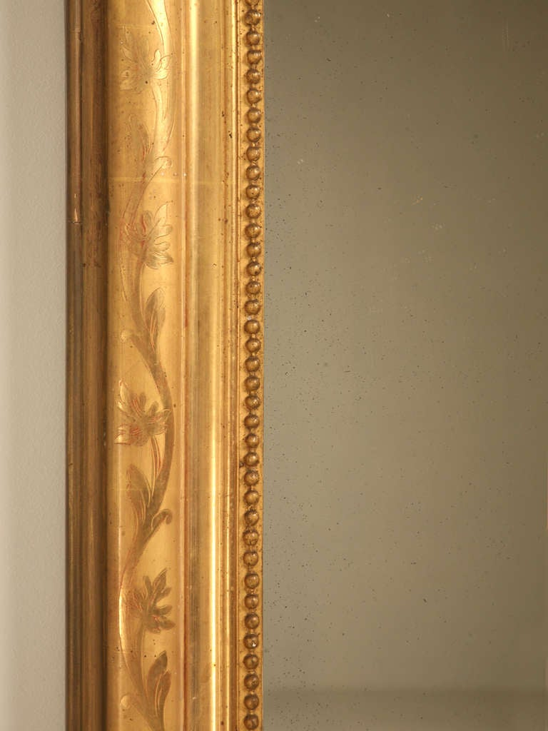 "Jaw-Dropping 55 x 34"" Original Antique French Louis Philippe Gilt Mirror 10"