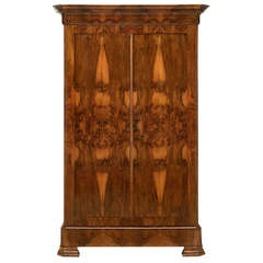 French Louis Philippe Burl Walnut Armoire
