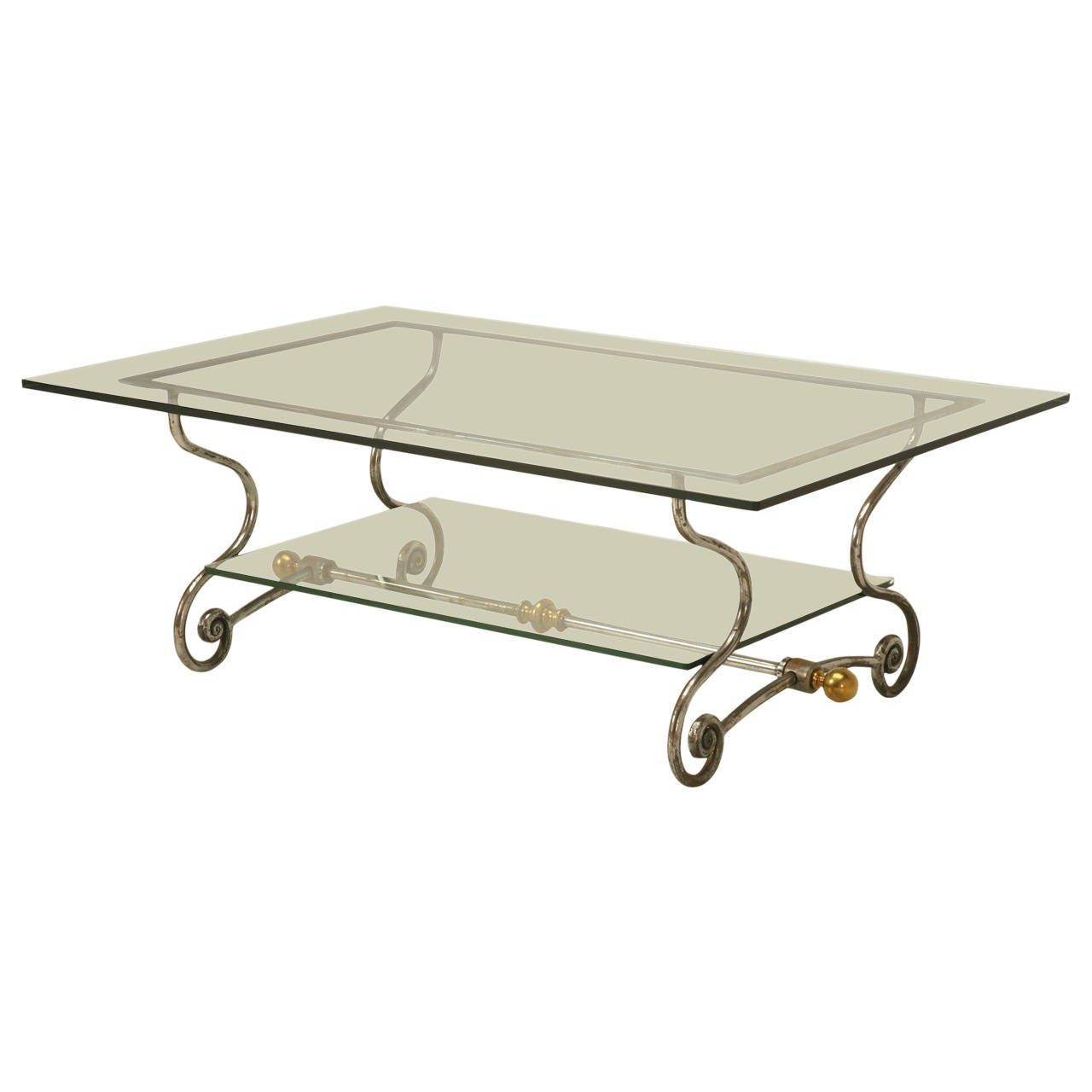 French glass steel and brass two tier coffee table for for French glass coffee table