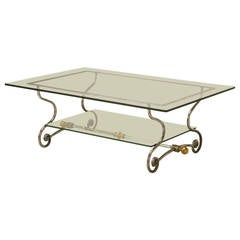 French Glass, Steel and Brass Two-Tier Coffee Table