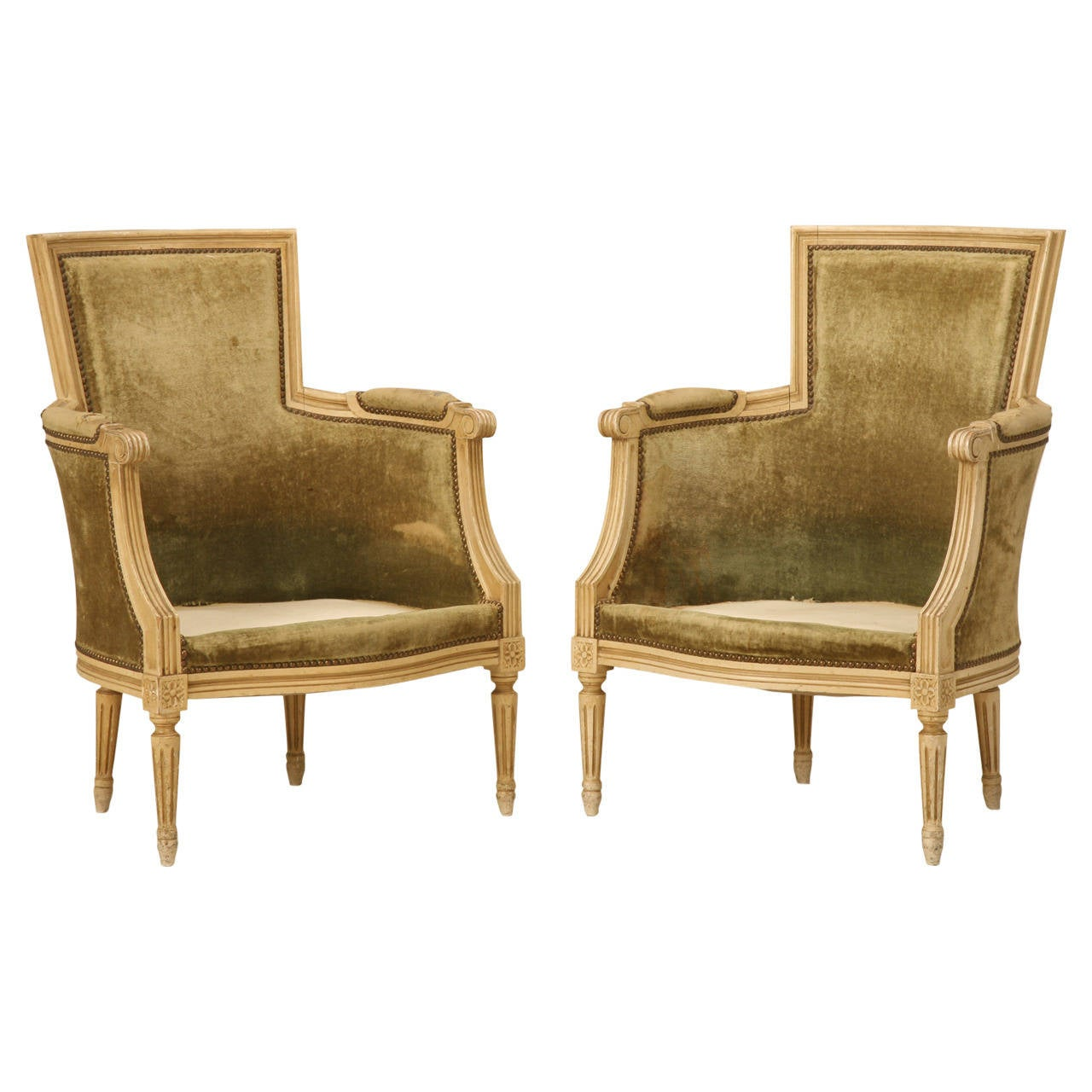 Louis XVI Style Bergere Chairs in Original Paint For Sale
