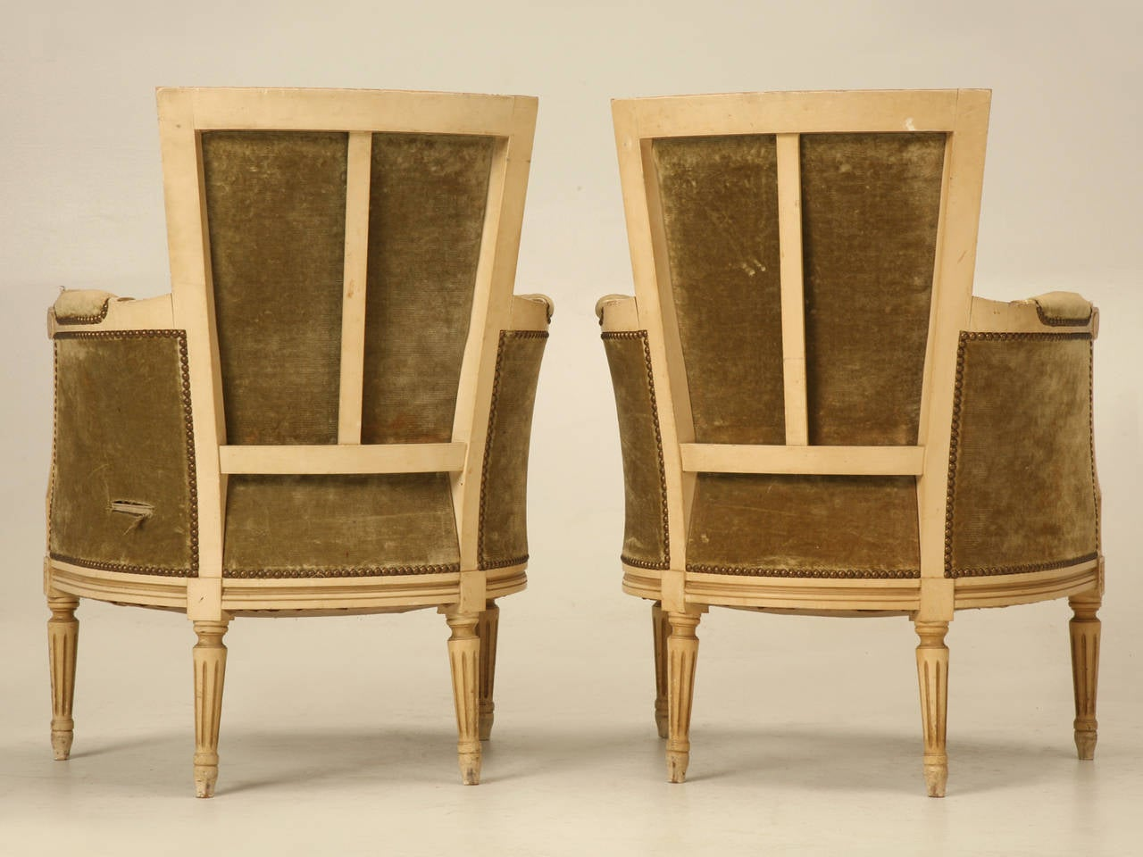 Louis XVI Style Bergere Chairs in Original Paint 10