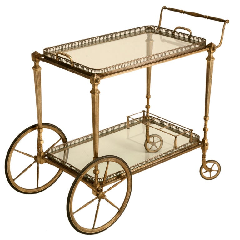 Vintage French Silvered Bronze Bar Or Tea Cart W Tray Top