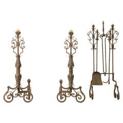 Spectacular Large Hand-Wrought Iron Andirons & Fire Tools Set