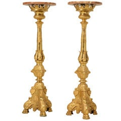 """Pair of 48"""" Tall Pricket-Form Marble Topped Pedestals"""