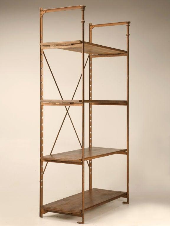 original antique french wood and steel industrial shelving. Black Bedroom Furniture Sets. Home Design Ideas