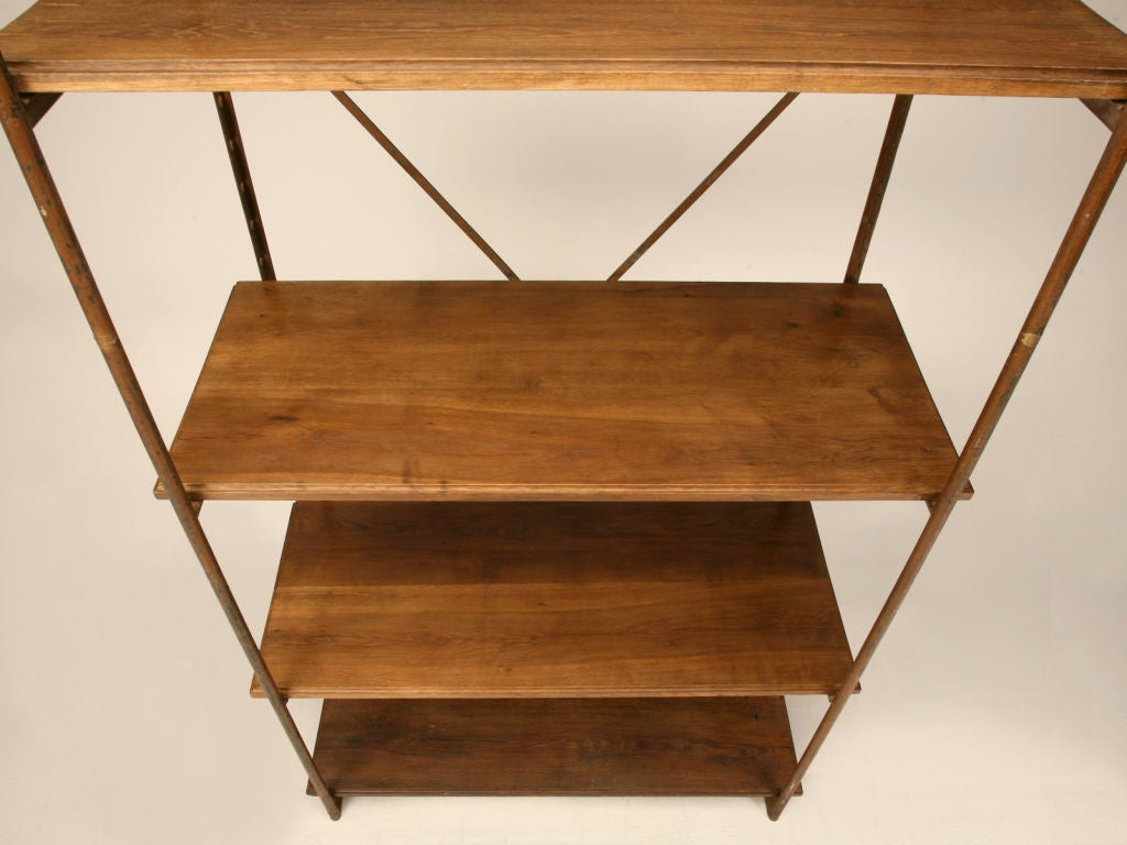 Original Antique French Wood & Steel Industrial Shelving Unit For Sale 2