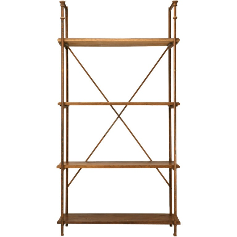 Original Antique French Wood & Steel Industrial Shelving Unit For Sale
