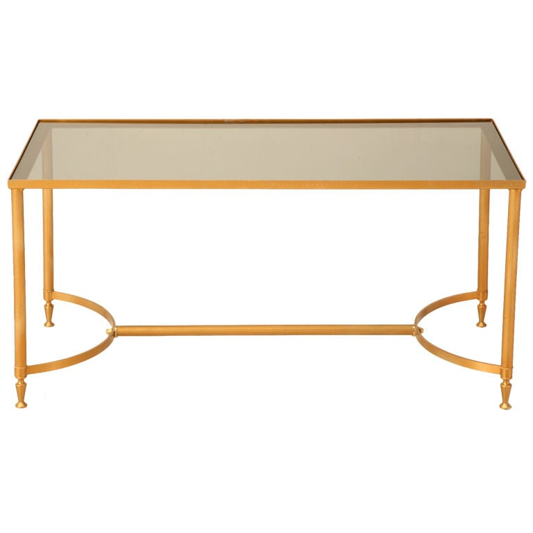Vintage French Painted Steel Cocktail Table w/Smoked Glass Top