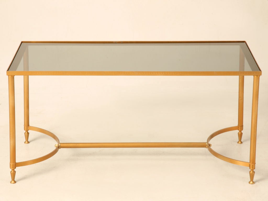 Vintage french painted steel cocktail table w smoked glass for French glass coffee table