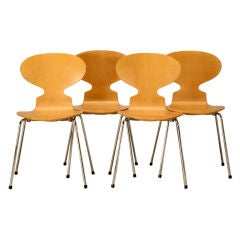 Set of 4 Fritz Hansen Birchwood Chairs by Arne Jacobsen