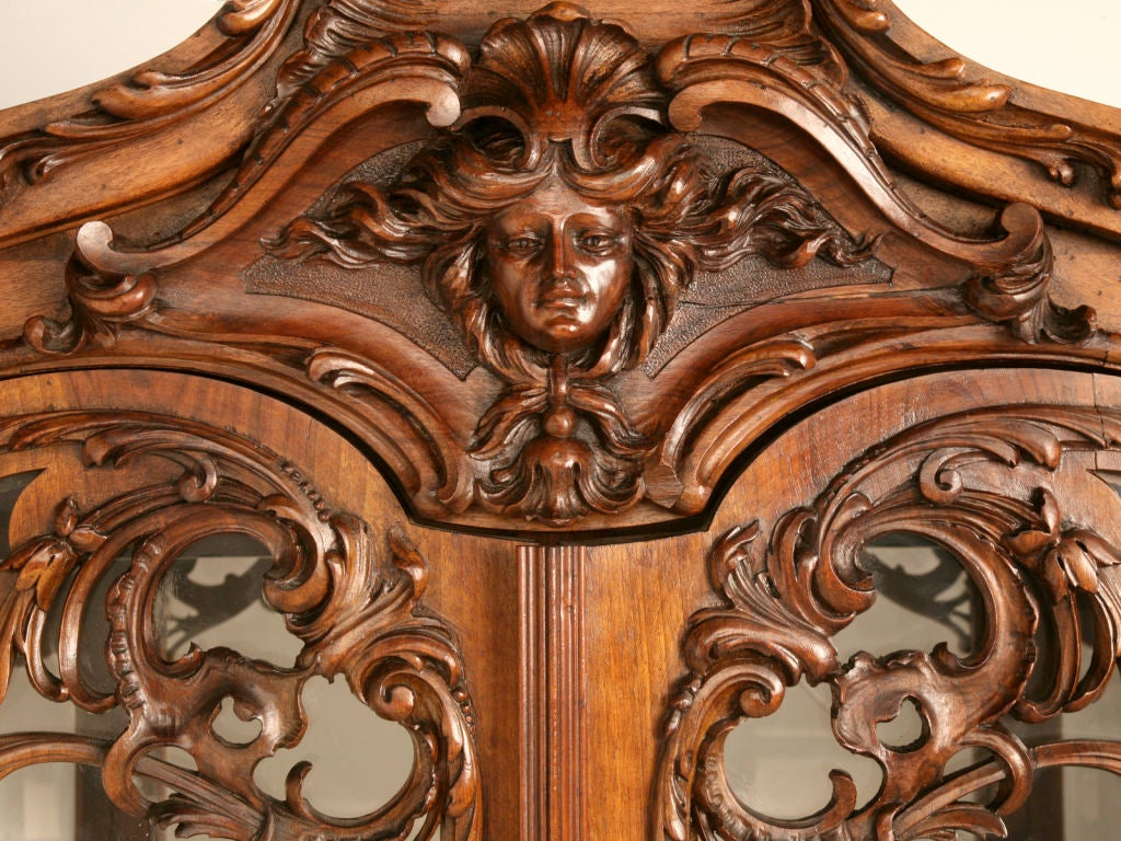 Antique French Walnut Art Nouveau China Or Collector S