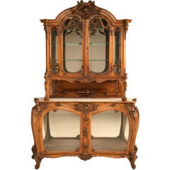 Antique French Walnut Art Nouveau China or Collector's Cabinet