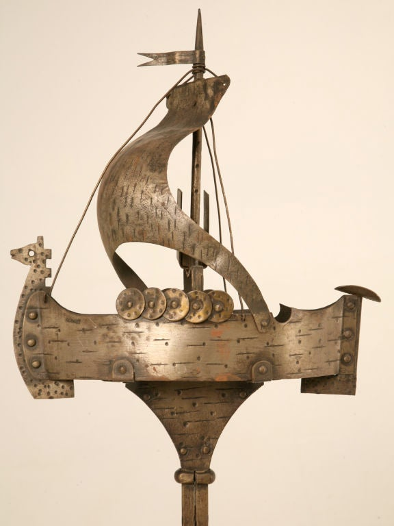 Wonderful Vintage German Steel Nautical Viking Ship Smoke