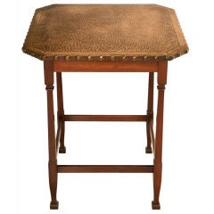 Vintage French Mahogany Table w/Hammered & Studded Copper Top