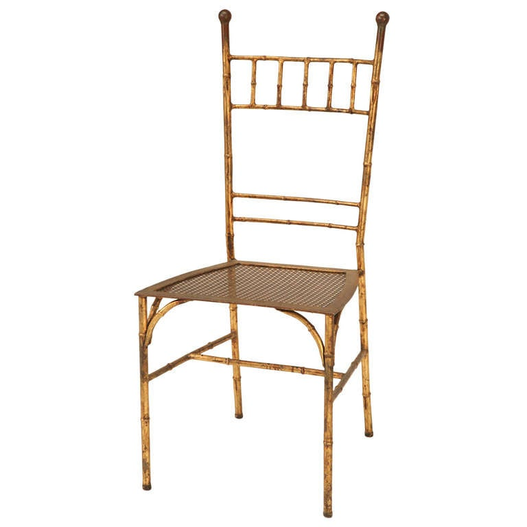 Classic Mid Century Gold Leafed Metal Faux Bamboo Side