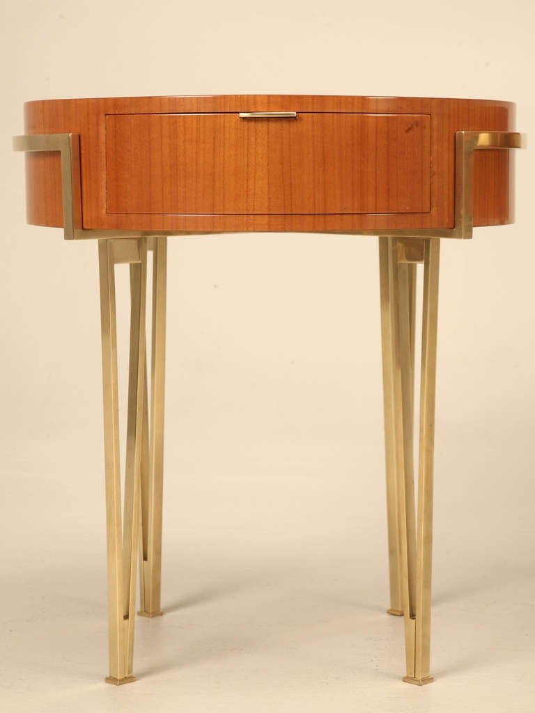 Pair Of Ebonized Mid Century Modern Tables With Brass Legs And Drawer At 1stdibs