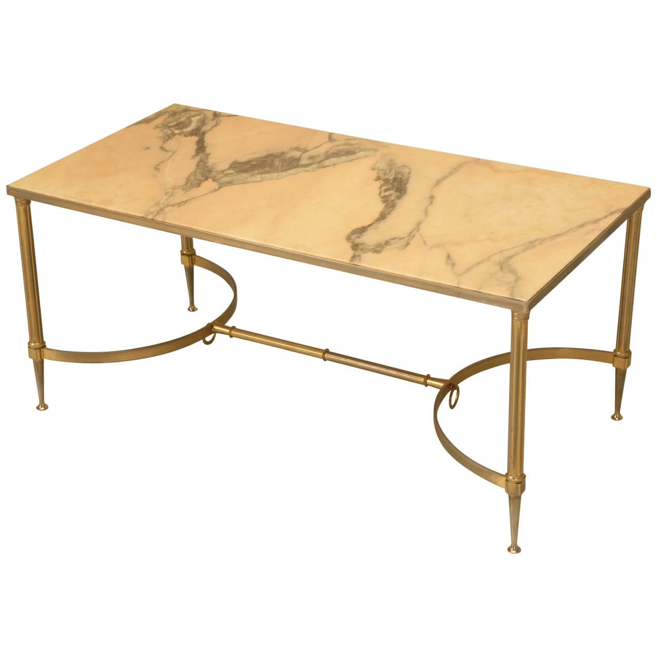 Mid century modern marble and brass coffee table at 1stdibs Mid century coffee tables