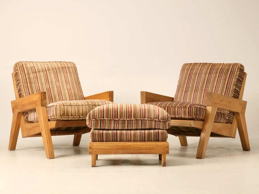 "Original Vintage 3pc Brandt ""Ranch Oak"" Club Chair & Ottoman Set image 2"