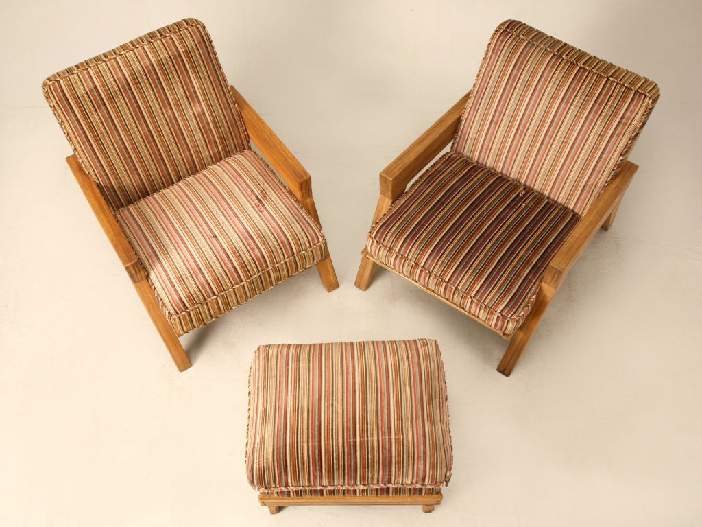 "Original Vintage 3pc Brandt ""Ranch Oak"" Club Chair & Ottoman Set image 3"