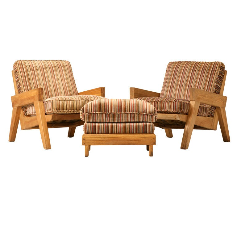 "Original Vintage 3pc Brandt ""Ranch Oak"" Club Chair & Ottoman Set"