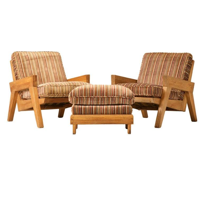 Original Vintage 3pc Brandt u0026quot;Ranch Oaku0026quot; Club Chair u0026 Ottoman Set