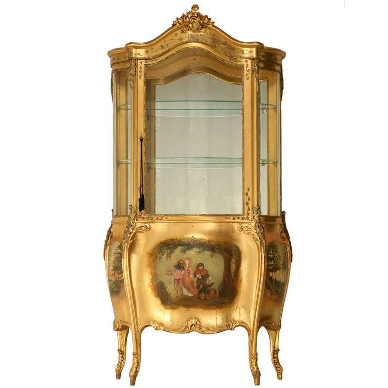 Extraordinary vintage italian gilt bombe style cabinet for Retro italian xxx