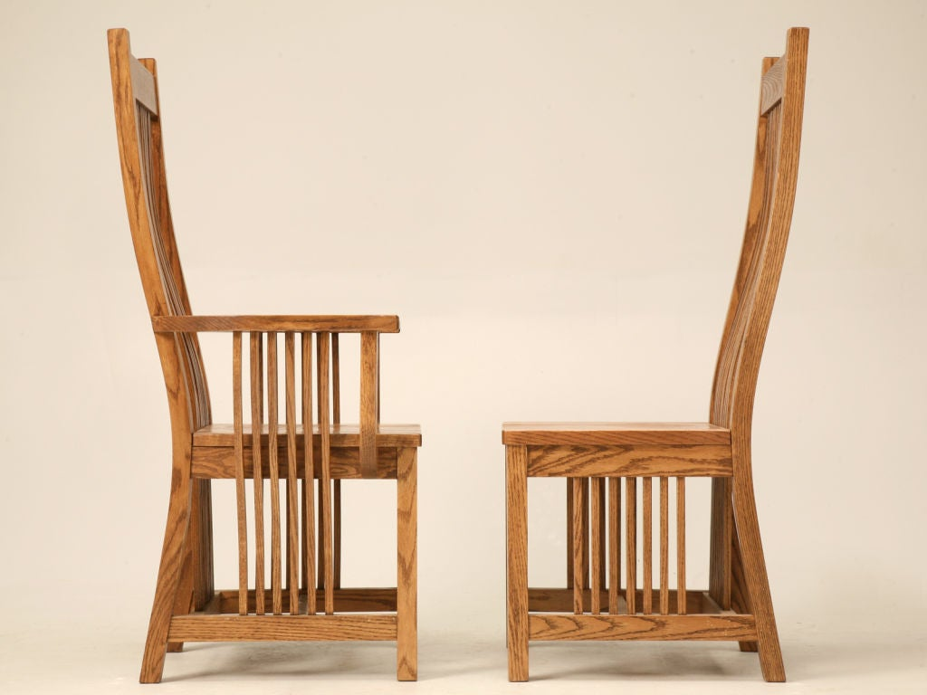 this set of 4 vintage oak mission style dining chairs is no longer