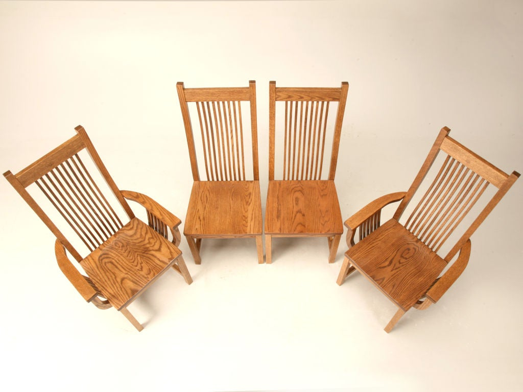 set of 4 vintage oak mission style dining chairs at 1stdibs