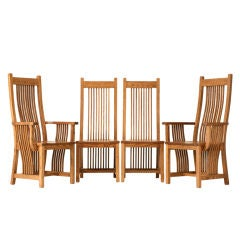 Set of 4 Vintage Oak Mission Style Dining Chairs