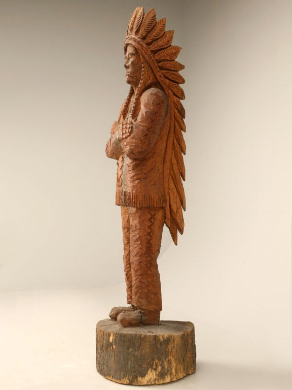 Vintage carved wood indian by don colp signed at stdibs