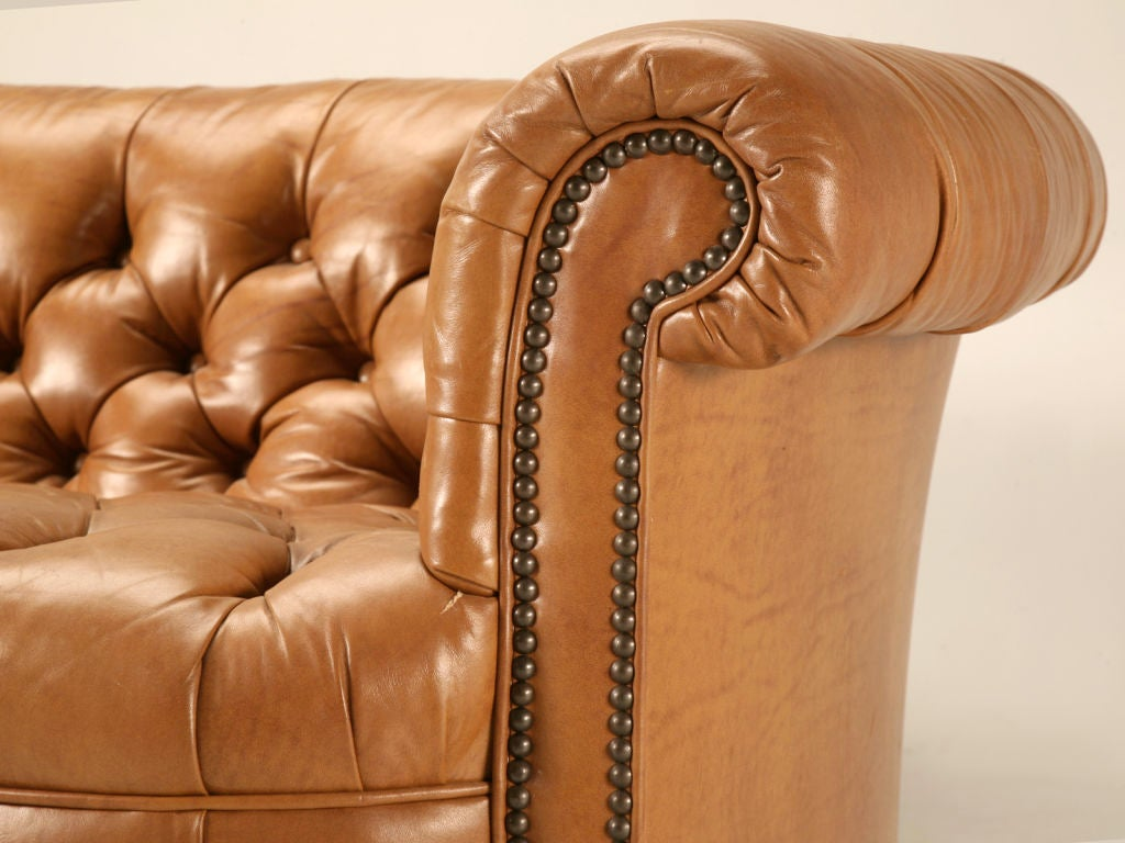 Dynamite Pair Of Vintage Leather Chesterfield Kidney Shape