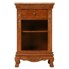 Vintage French Solid Oak Nightstand w/Drawer & Stone Top