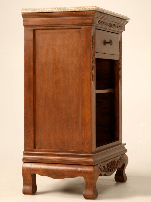 Vintage French Solid Oak Nightstand W Drawer And Stone Top