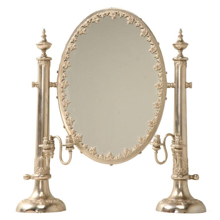 vintage english hallmarked dressing table mirror w side lights at 1stdibs. Black Bedroom Furniture Sets. Home Design Ideas