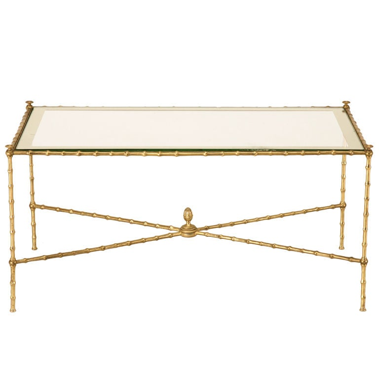 Breathtaking French Bagues Style Faux Bamboo Coffee Table At 1stdibs