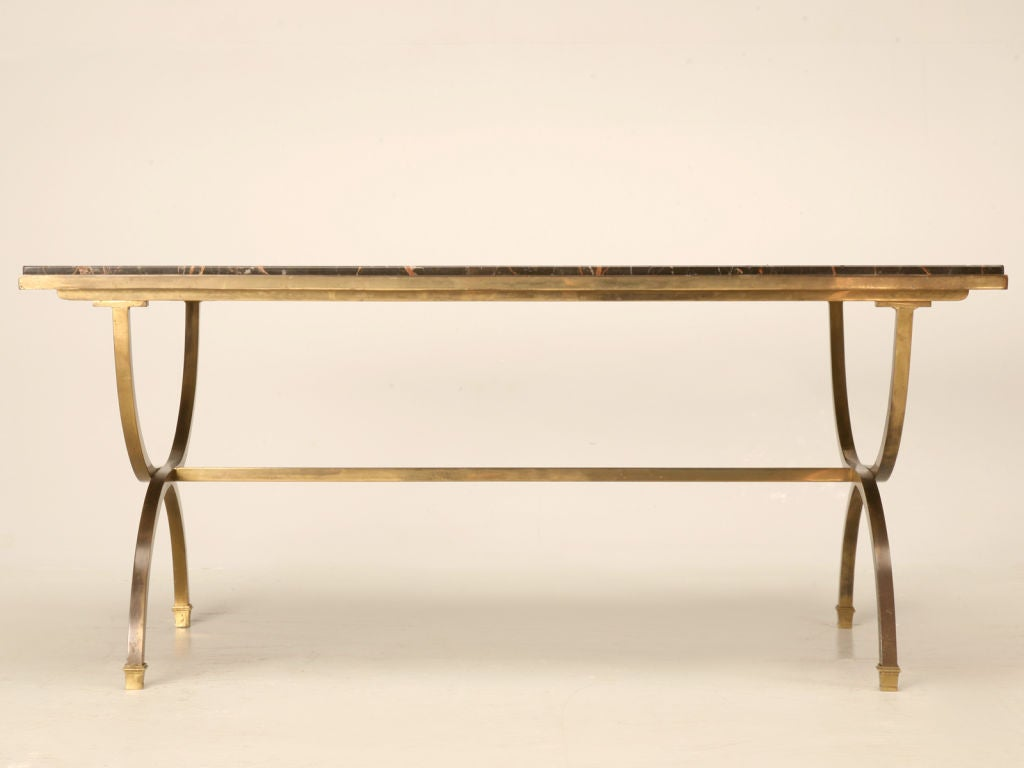 Vintage French Forties Style Curule Coffee Table W Orig Marble At 1stdibs